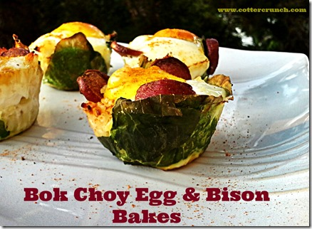 Bok Choy Egg and Bison Bakes