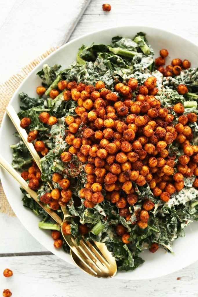 Garlicky Kale Salad with Chickpeas