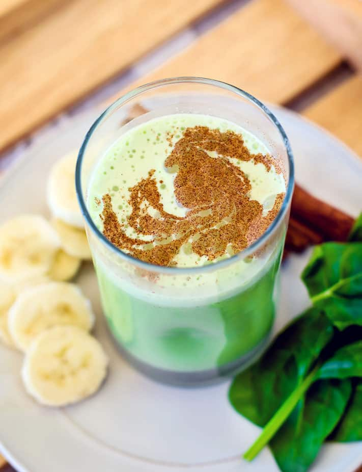 Good for You Naturally Green Recipes - POWER breakfast Green Smoothie recipe with a touch of matcha! Protein packed and healthy.