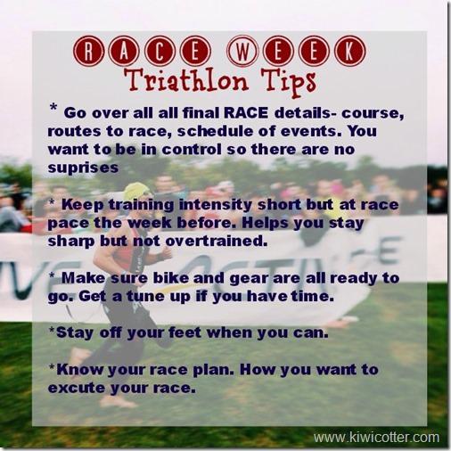 race week tips- tri