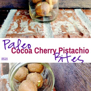 Paleo cocoa cherry pistachios bites! Naturally sweetened, grain free, and perfect for satisfying your sweet  tooth! Paleo and vegan friendly