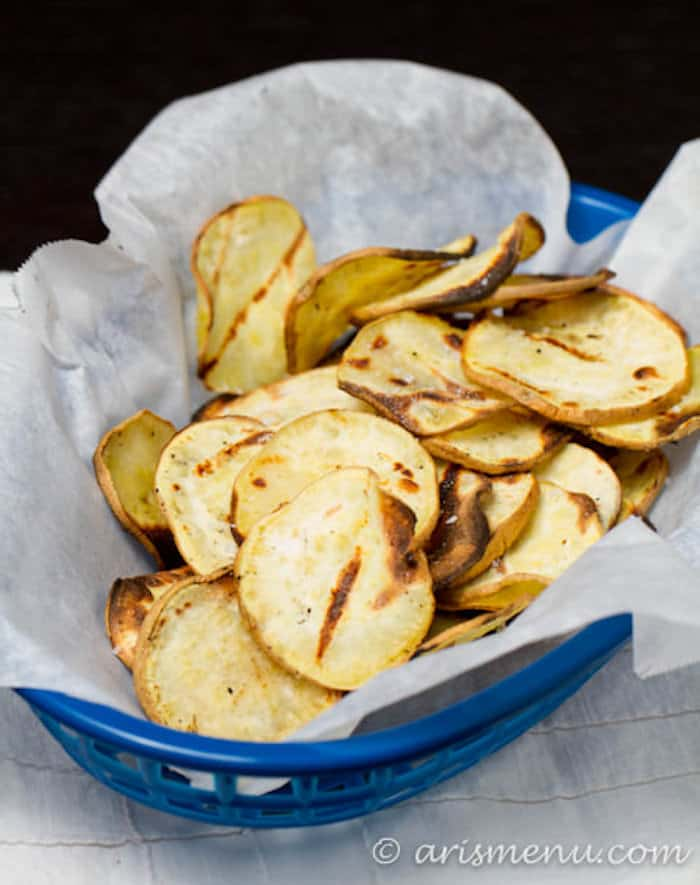 Grilled sweet potatto chips