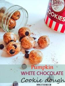 Pumpkin White Chocolate Cookie Dough Healthy Bites Recipe via @LCCotter #fitfluential #glutenfree @sweetspreads