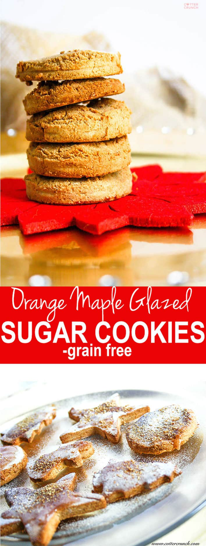 A sweet and refreshing twist on your average holiday cookie! Grain Free and Paleo friendly! Orange Maple glazed sugar cookies are great for sharing.