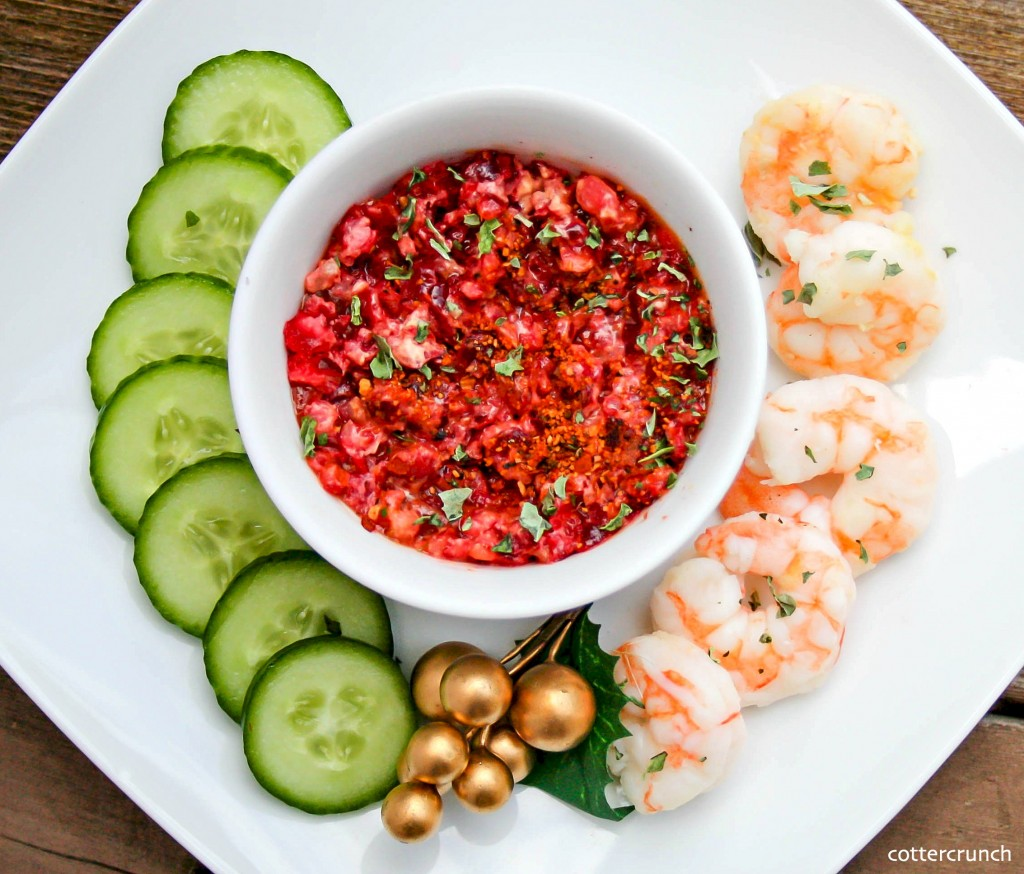 shrimp cocktail with cranberry basil sauce