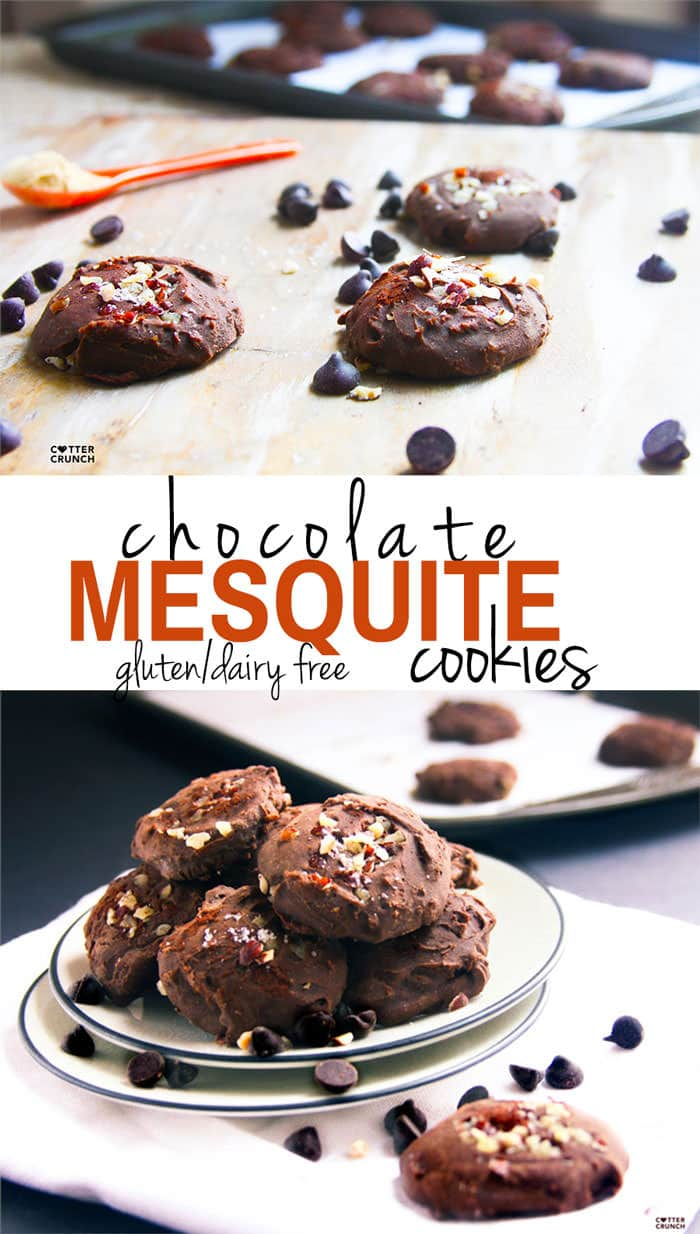 gluten free and dairy free chocolate mesquite cookies! Great post workout food for a snack or breakfast on the go! Nutrient dense and full of sweet, smokey flavor! cottercrunch.com @cottercrunch