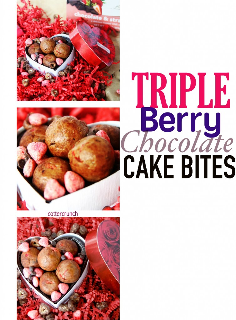 triple berry choc cake bites - cottercrunch #glutenfree valentines day treats!