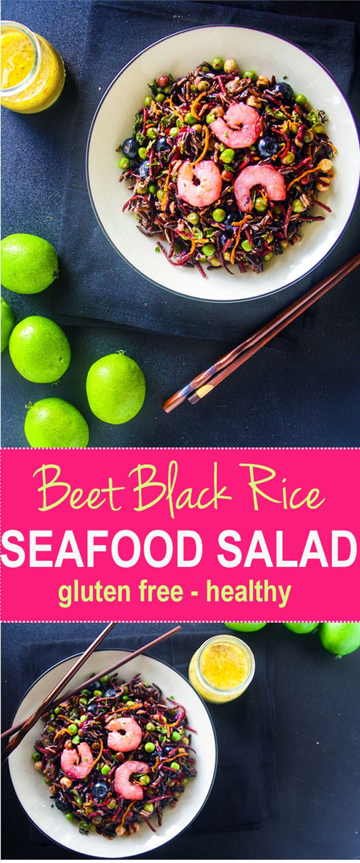 """Load up on antioxidants with a gluten free shrimp salad! With beets, black rice, and a lemon-lime vinaigrette, this powerhouse salad is great for """"Spring Cleaning"""" your diet! It's colorful, flavorful, and protein packed! Clean eating made tasty!"""