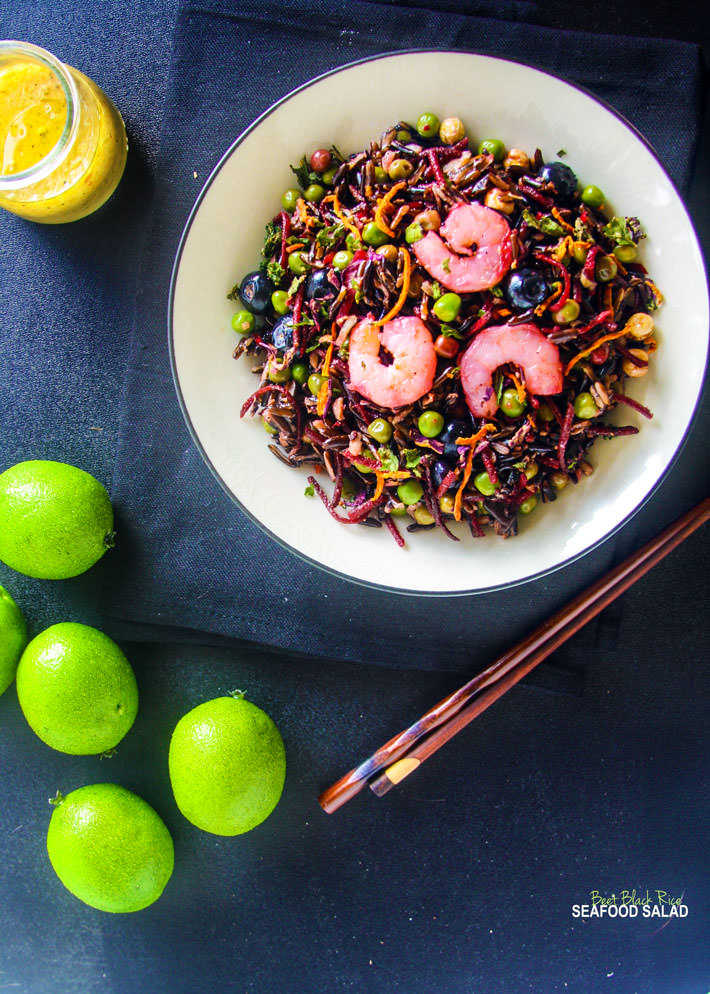 """Load up on antioxidants with a gluten free shrimp salad! With beets, black rice, and a lemon-lime vinaigrette, this powerhouse salad is great for """"Spring Cleaning"""" your diet! It's colorful, flavorful, and protein packed!"""