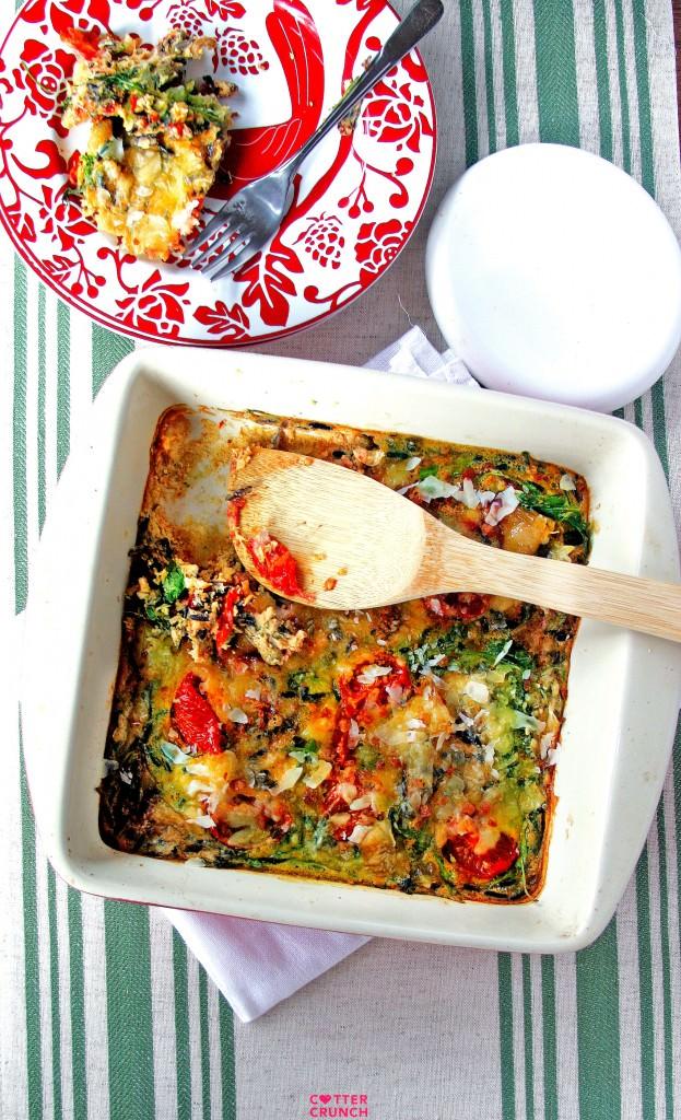 BLT egg casserole bake - quick healthy gluten free dinner!