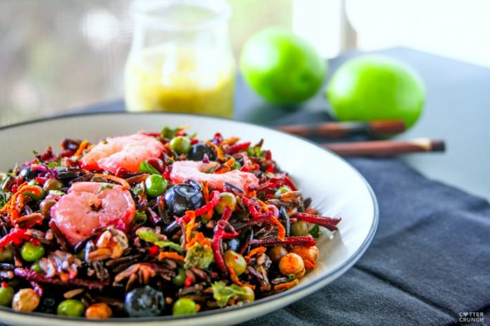 """Load up on antioxidants with a nourishing Beet and Black Rice Seafood Salad ! This Shrimp, beet, and black rice combo make a powerhouse salad great for """"Spring Cleaning"""" your diet! It's colorful, falvorful, and protein packed!"""