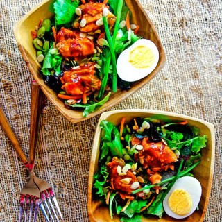 Asian BBQ Salmon Salad: An easy to make, gluten-free recipe with tasty ingredients that help the body with Lycopene absorption.
