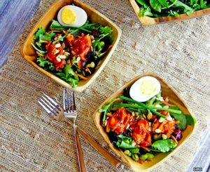 Tangy Asian BBQ Gluten Free Salmon Salad – Plus Lycopene Absorption!