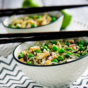 Spring Pea and Onion Noodle Bowls;  a light but flavorful Spring dish! Made gluten free with rice or kelp noodles and great with seafood, chicken, or tofu! Ready in 30 minutes or less.
