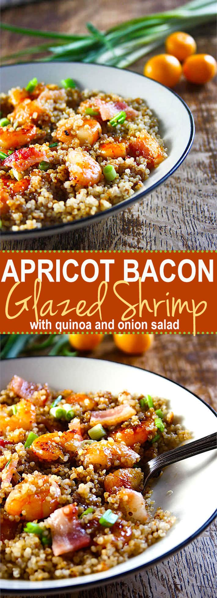 Apricot Bacon Glazed shrimp - A super EASY and flavorful shrimp dish that your whole family will love! It's gluten Free, healthy, and has a sweet savory sauce to DIE FOR!