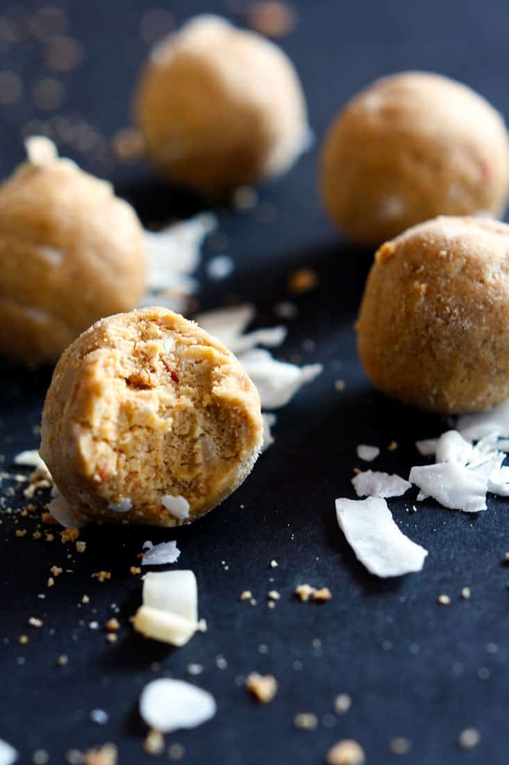 Grain Free Coconut Cream Peanut Butter Protein Bites! These NO BAKE snack bites are lower in sugar and carbs. Great for summer treats