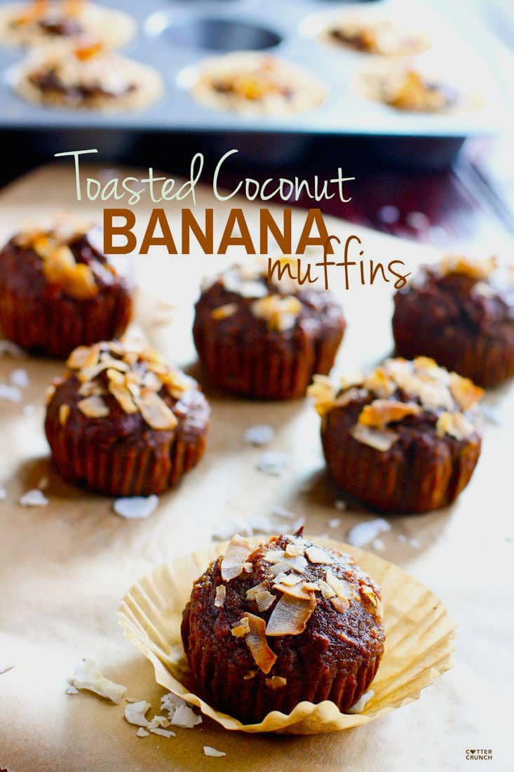 Paleo Banana Muffins with Toasted Coconut that are naturally sweetened, quick to make, and delicious! Great for reducing sugar without the taste!