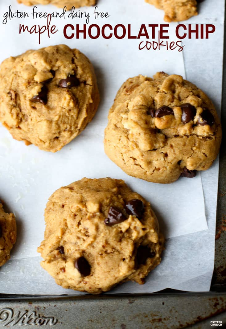 The Best Ever Maple Chocolate Chip Cookies recipe! These cookies are gluten free, dairy free, full of flavor, lower in sugar, with soft but crispy texture.
