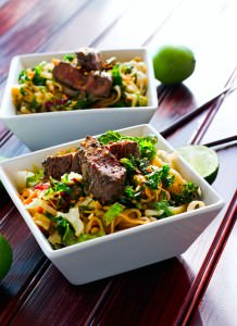 Spicy Asian Style Rice Noodle Salad {Gluten Free}
