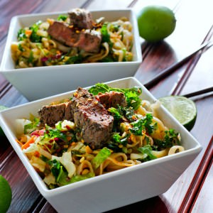 spicy rice noodle salad