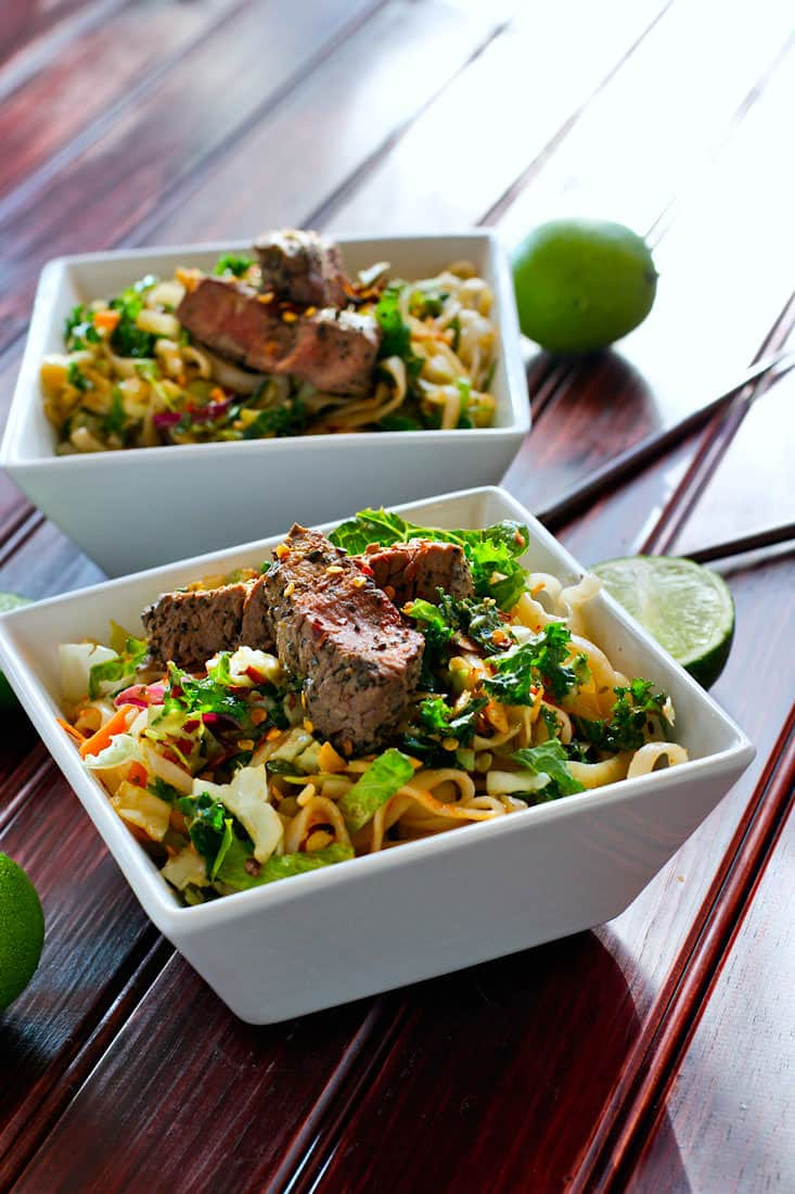 spicy rice noodle salad - gluten free, healthy, simple to make!