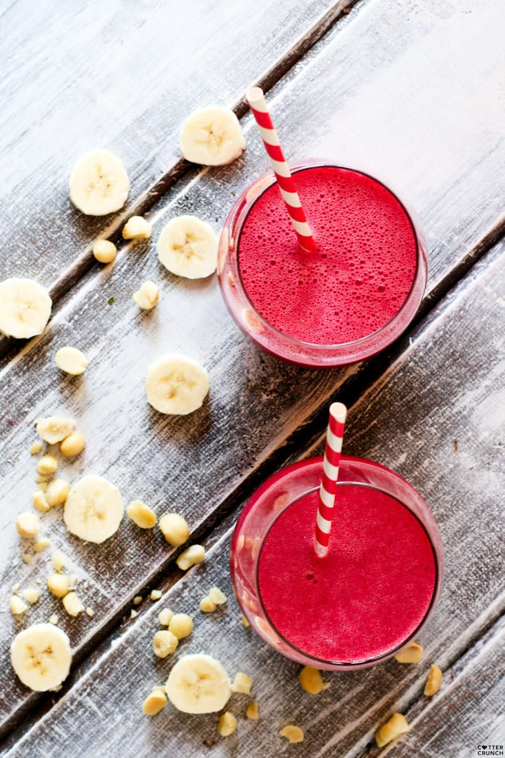 Tropical Beet Smoothie with Mac Nuts! It's healthy, creamy, delicious, and fruity. Our favorite Endurance Boosting drink full of vitamins, minerals, antioxidants, and healthy fats. Perfect drink for summer too! Paleo/Vegan Friendly @cottercrunch