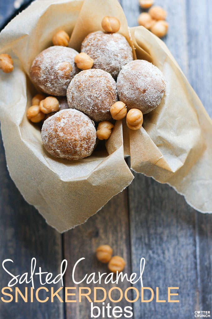 Gluten Free Salted Caramel Protein Bites! The perfect protein ball recipe to satisfy your sweet tooth! Super easy to make with no baking, kid friendly, great for snacking, desserts, etc.