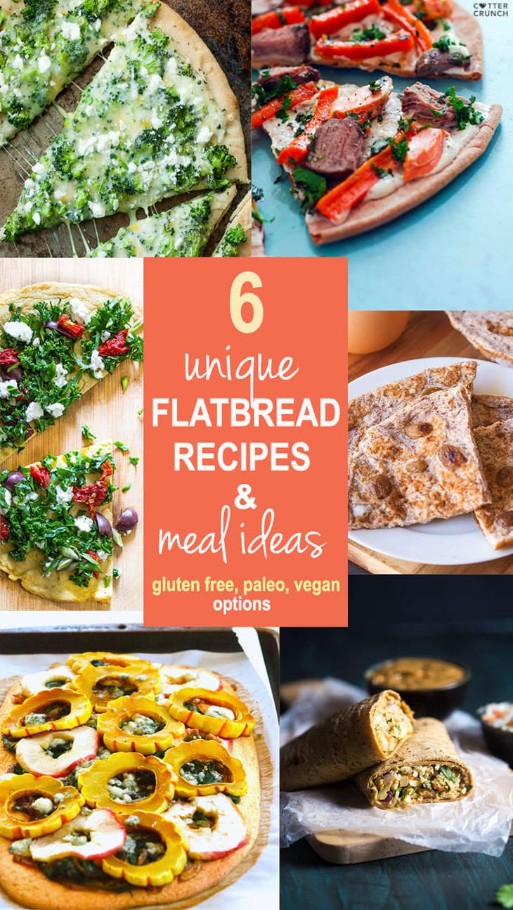 Surf and turf Flat bread plus 5 other flat bread recipes that are unique are full of flavor/ease! These flat recipes are not only a great base and use for leftovers, but also easy crowd-pleasers! Gluten free, grain free, vegetarian, vegan options. #cottercrunch