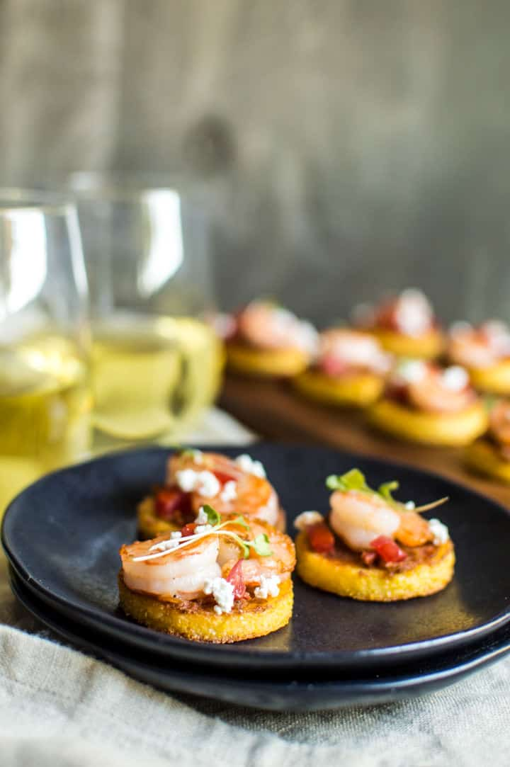 Cheesy Shrimp Polenta Bites -- Great appetizer for party!