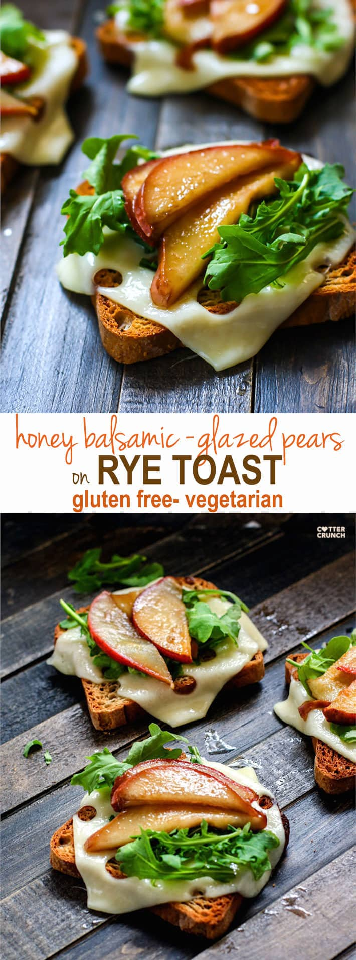 Honey Balsamic-glazed pears with Swiss Cheese and arugula on @udisglutenfree Gluten Free Rye toast! A delicious vegetarian meal great for a quick lunch, appetizer, or even a post workout snack! Balanced with whole grain gluten free carbs, protein, and healthy fats!