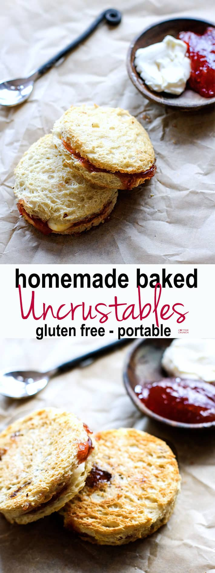 "Gluten free homemade baked ""Uncrustables"" (aka Quick Crusts). Real food fuel, easy to make, healthy, and great for meals/snacks on the go! Kid friendly, Vegan Friendly, Athlete friendly! #cottercrunch"