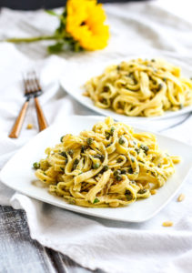 Healthy Fettuccine with Capers, Pine Nuts, and Yogurt Sauce {Gluten Free or Grain Free}