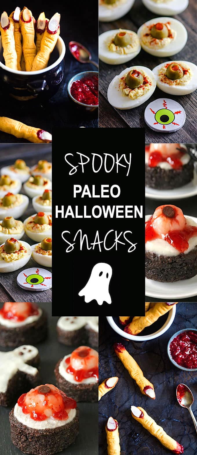 Spooky Paleo Halloween snacks that will be a hit at your next party but also healthy, easy to make, and paleo friendly! Recipes - http://bit.ly/eggeyeball