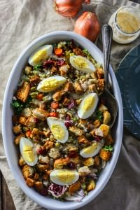 Gluten Free Stuffing Salad with Warm Sweet Onion Dressing