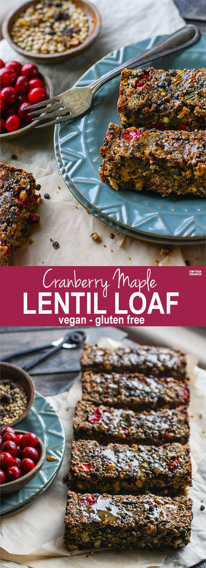 Gluten free Vegan Cranberry Maple Lentil loaf! A great dish to add to your Holiday table. Lentils, fresh cranberries, nuts, and sautéed veggies all baked up into one healthy and delicious lentil loaf. The Maple glaze topping makes it even more flavorful. Super easy to make as a side dish or a main dish.
