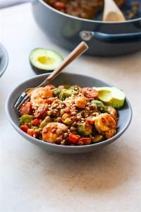 ONE POT Shrimp Jambalaya Lentil Bowls {Grain Free}