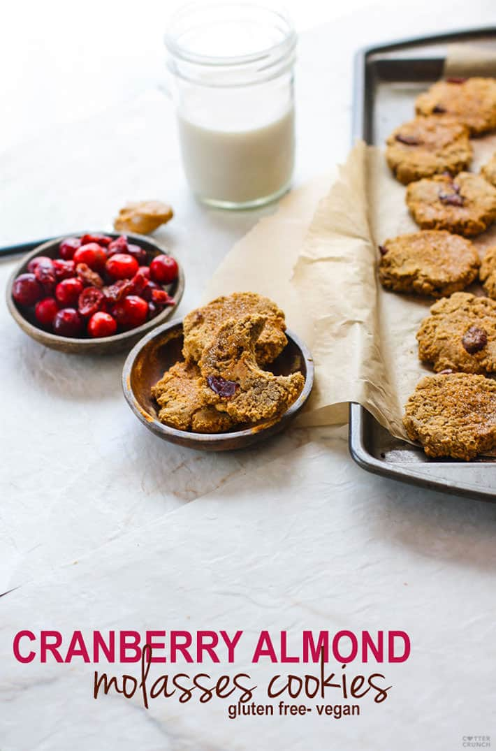 Healthy Cranberry Almond Molasses Cookies! These tasty molasses cookies are not only gluten free but vegan friendly! Great for the holidays, for snacking, parties, or even breakfast on the go. ENJOY! @cottercrunch Vegan/Paleo friendly