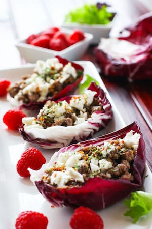 gluten free slow cooker raspberry pork wrap with radicchio! healthy, low carb, easy!