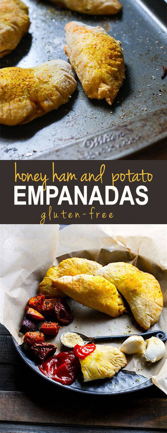 Gluten Free Honey Baked Ham and Potato Empanadas. Healthy Honey Baked Ham and sweet potatoes stuffed and baked in gluten free dough with tasty spices! A great appetizer, snack, and comfort food made easy! @cottercrunch