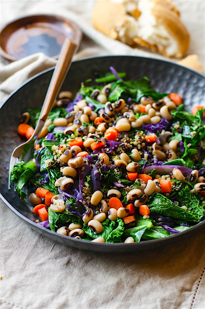 Power up the new year with this Vegan Rainbow Power Greens Salad with Black Eyed Peas. A healthy gluten free power greens salad packed with lucky black eyed peas and super nutrients.