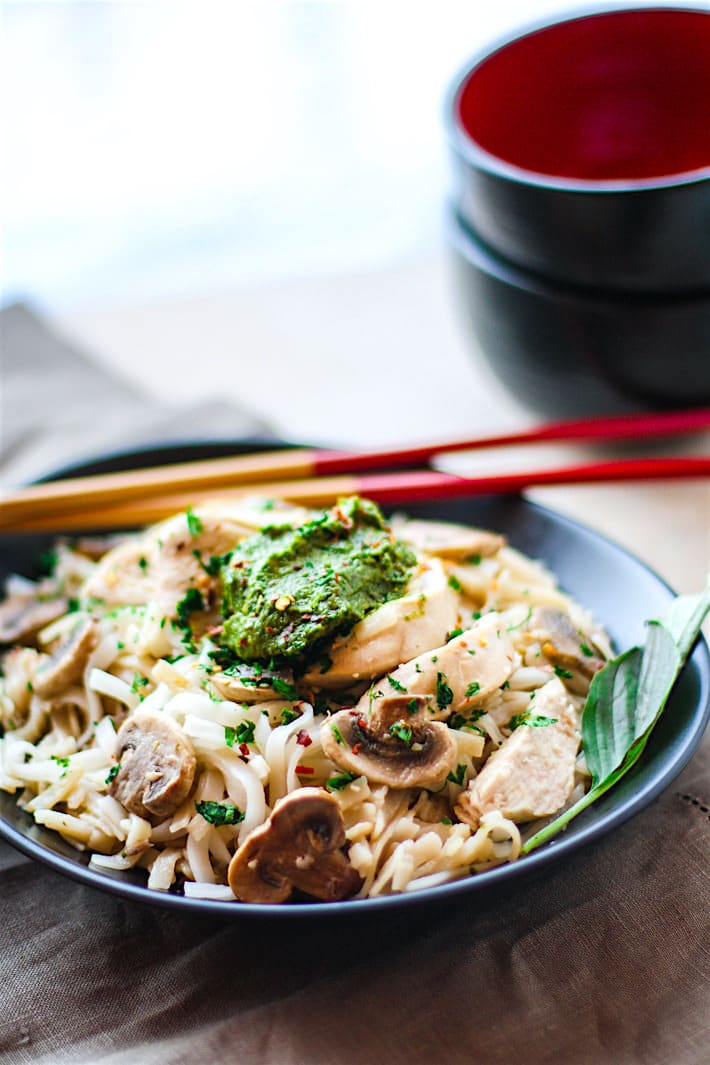 Spicy Thai Pesto Chicken Noodle Bowls! These gluten free noodle bowls are delicious and easy to make! The thai pesto bring a kick of flavor and a dose of Healthy antioxidants! A dairy free dinner that's ready in less than 45 minutes and great for a hungry crew!