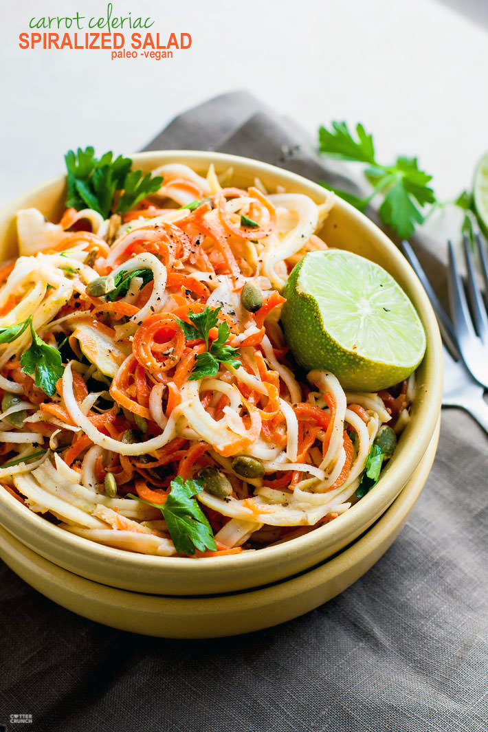 Easy Carrot Celeriac Spiralized Salad! This root vegetable spiralized salad is s simple and healthy to make, not to mention delicious! A paleo, vegan, and low carb noodle salad option you can make under 30 minutes. All you need are the right spices and oils. Celeriac is light and low carb but extremely versatile!