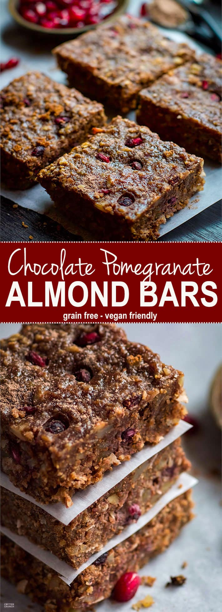 Gluten Free Chocolate Almond Bars with Pomegranate! Oh heavens yes! A Vegan friendly and Gluten Free Chocolate Bar you can have for breakfast, snack, or dessert! Packed with Antioxidants (cocoa, almonds, pomegranate) and bursting with flavor. Healthy yet satisfying. www.cottercrunch.com