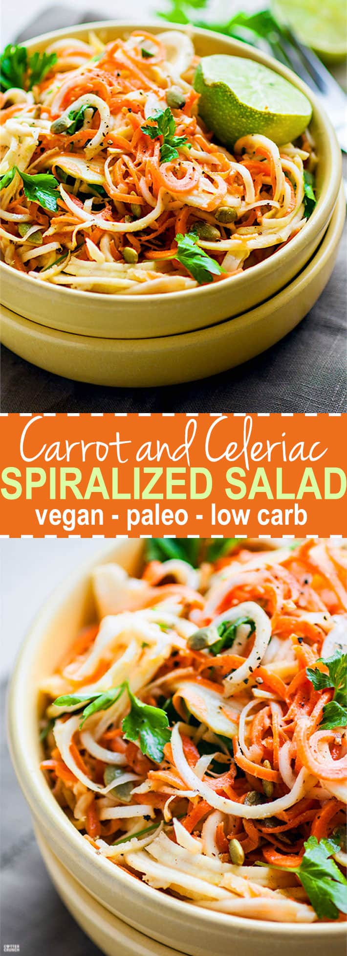Easy Carrot Celeriac Spiralized Salad! This root vegetable spiralized salad is simple, light, and healthy to make, not to mention delicious! A paleo, vegan, and low carb noodle salad option you can make under 30 minutes. All you need are the right spices and oils. Celeriac is light and low carb but extremely versatile!