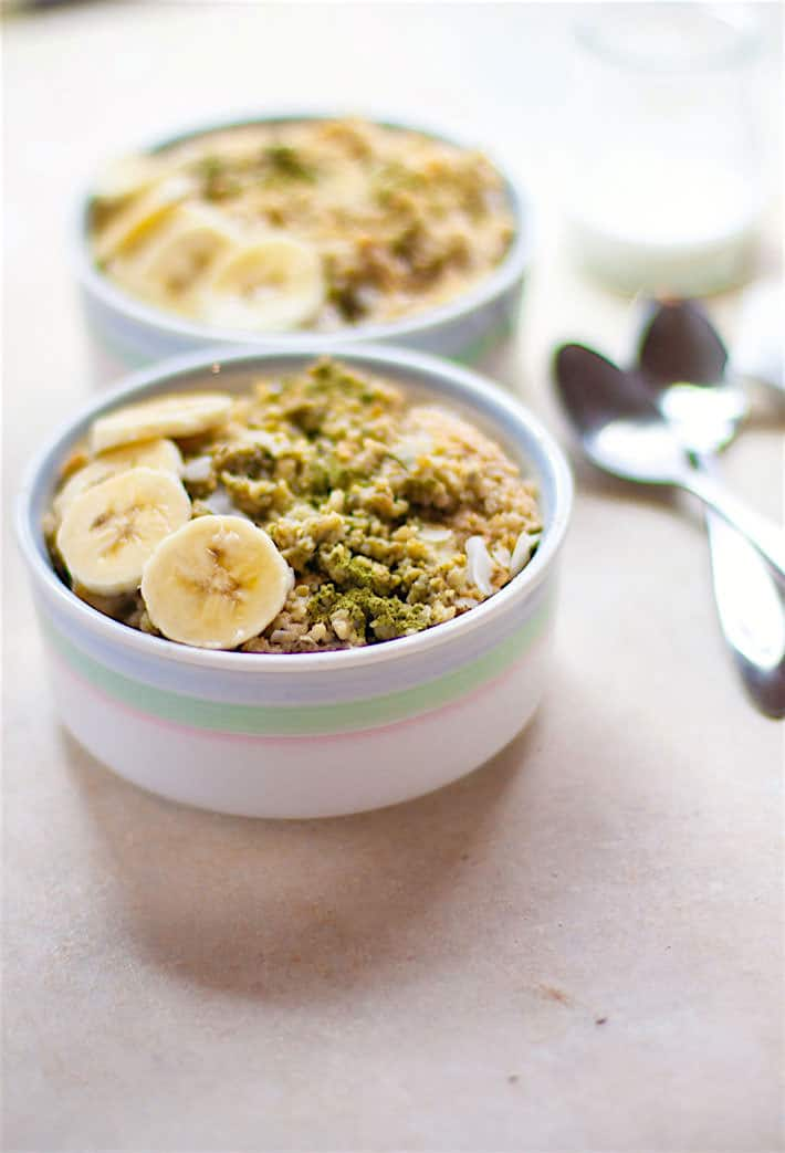 Energizing Coconut Matcha Green Tea Oatmeal