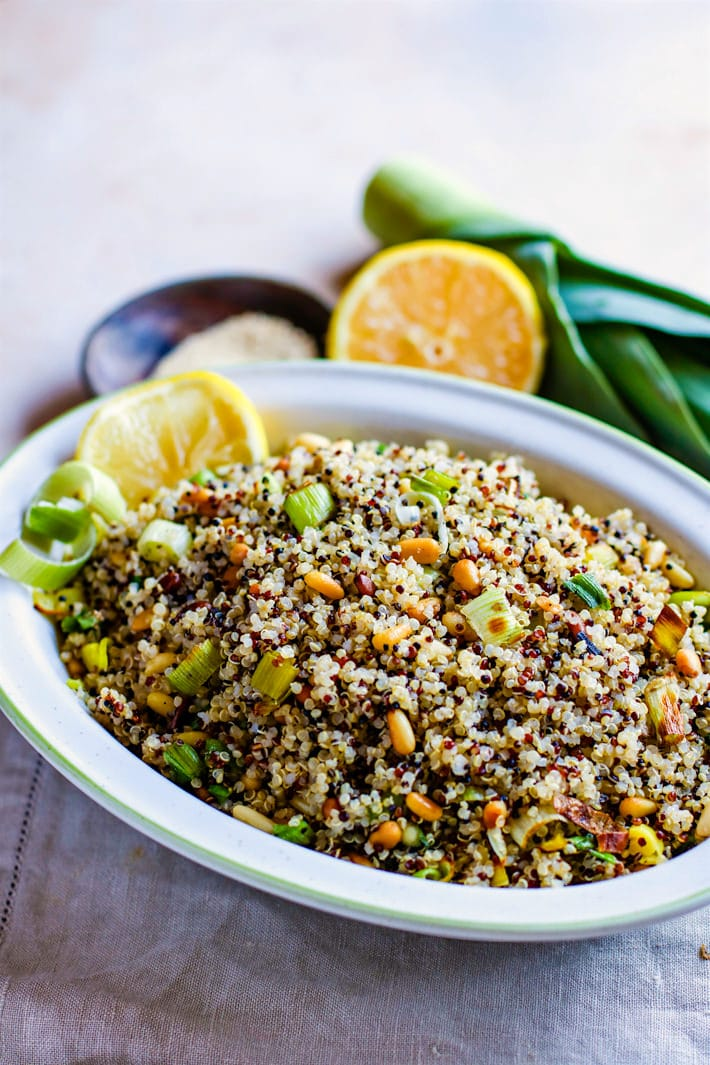 toasted pine nut quinoa salad with leeks and lemon! So fresh, healthy, gluten free, and easy to make as a side dish or light vegetarian meal.