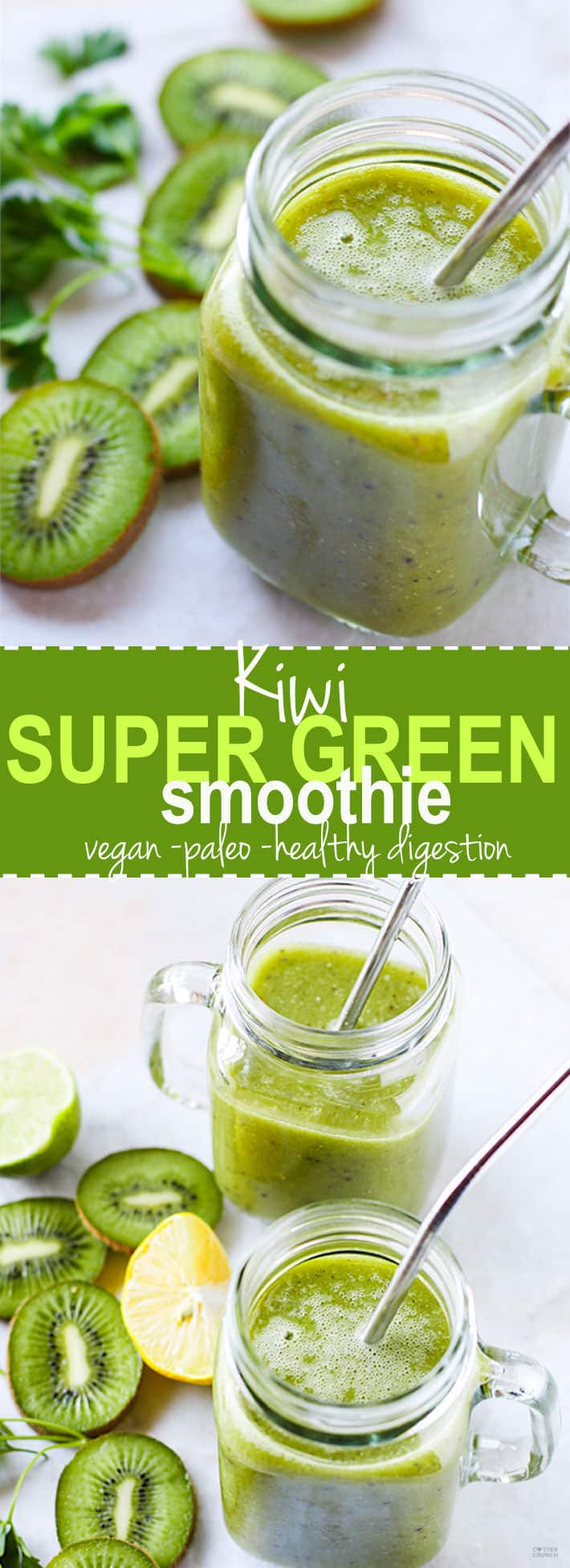 Give your digestion a little TLC with this Kiwi Super Green Smoothie! Super ingredients that are all healthy and nourishing. A green smoothie that does a body good. Simply delicious and refreshing! Paleo and vegan friendly! @cottercrunch
