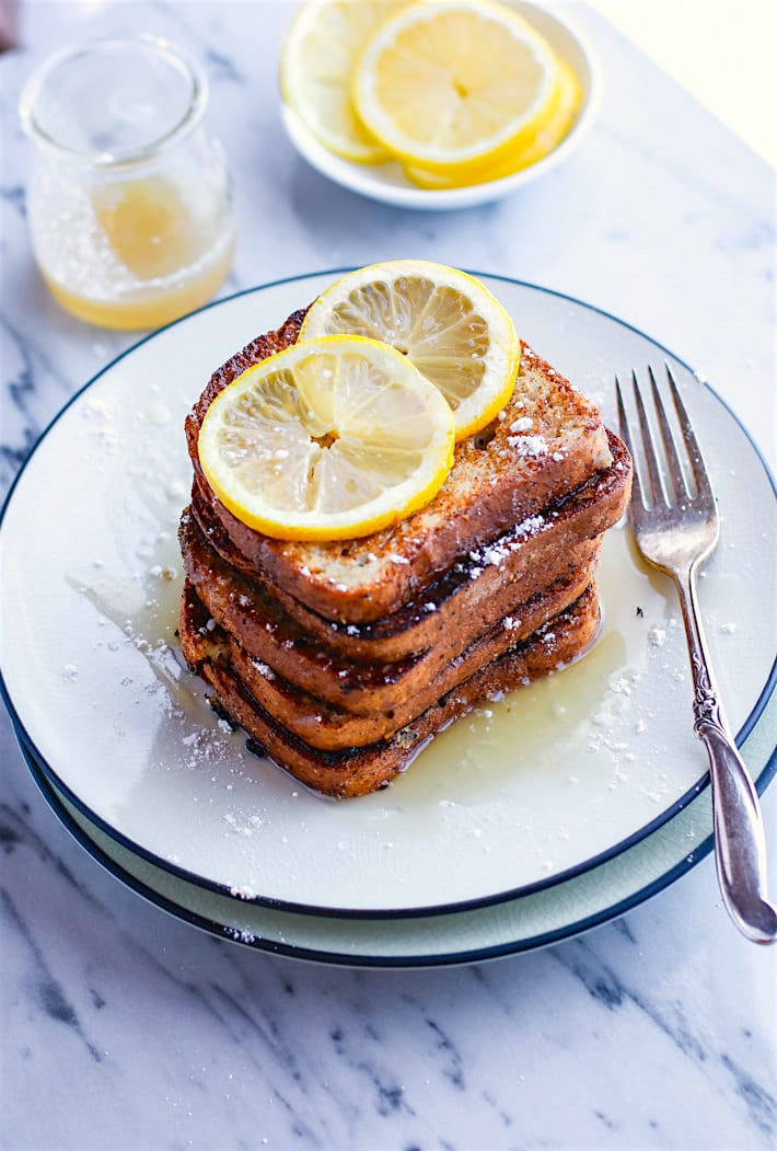Honey Lemon Vanilla Gluten Free French Toast. Simple yet delicious flavors, easy to make, no eggs needed, and vegan Friendly! This Gluten Free French Toast breakfast is a hit for weekend brunch or for kids. Perfect for freezing and making ahead too. Healthy Dairy Free, Gluten Free Meal Plan Recipes