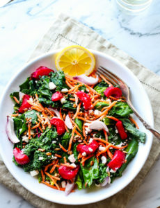 Honey Roasted Rhubarb Power Greens Salad {And Health Perks}