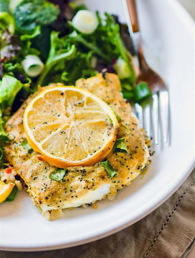 maple mustard poppy seed baked cod - Super simple Healthy, and delicious! Paleo friendly